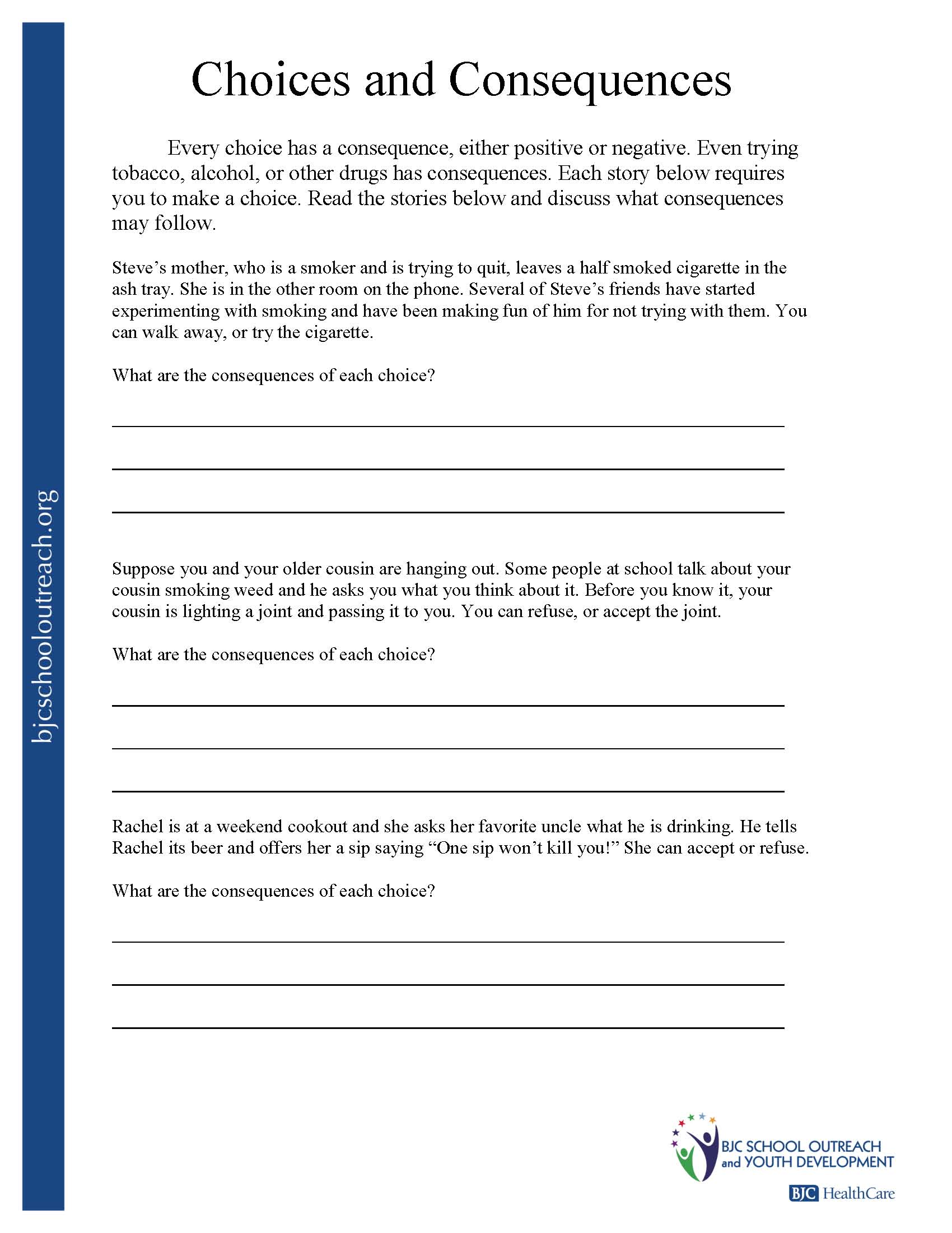 Printables Making Good Decisions Worksheets printable worksheets substance abuse