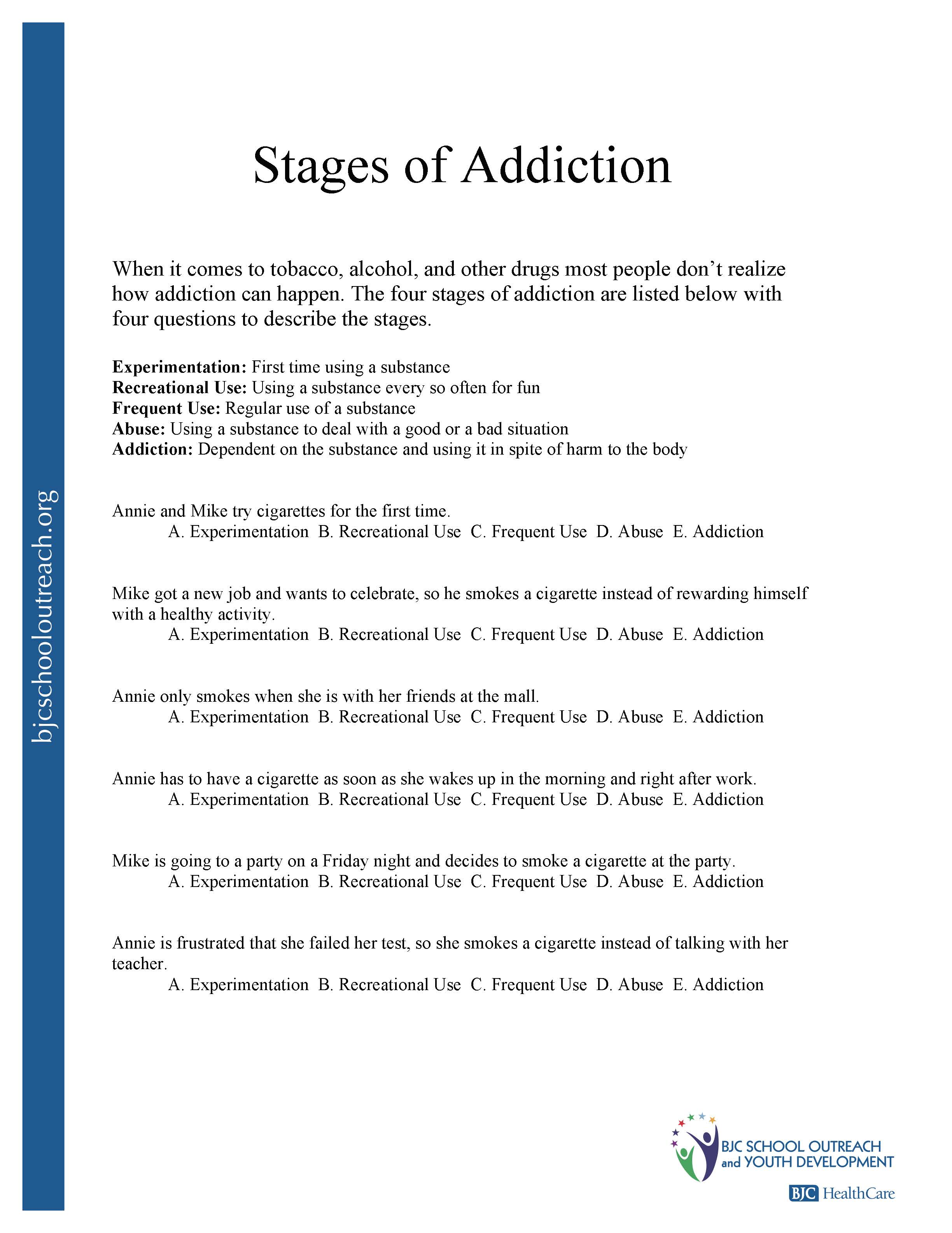 Worksheet Addiction Worksheets printable worksheets stages of addiction